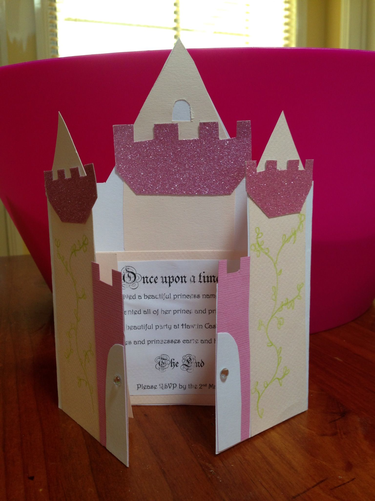 princess castle invitation folders. princess birthday party