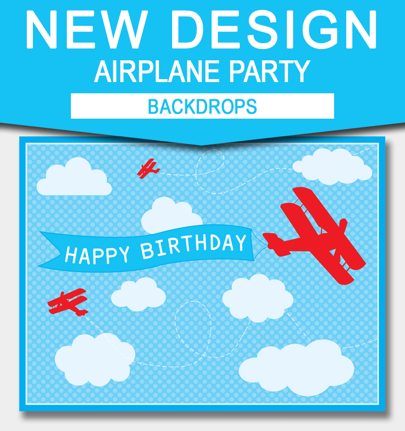 New Printable Airplane Party Backdrops 3648 inches A0