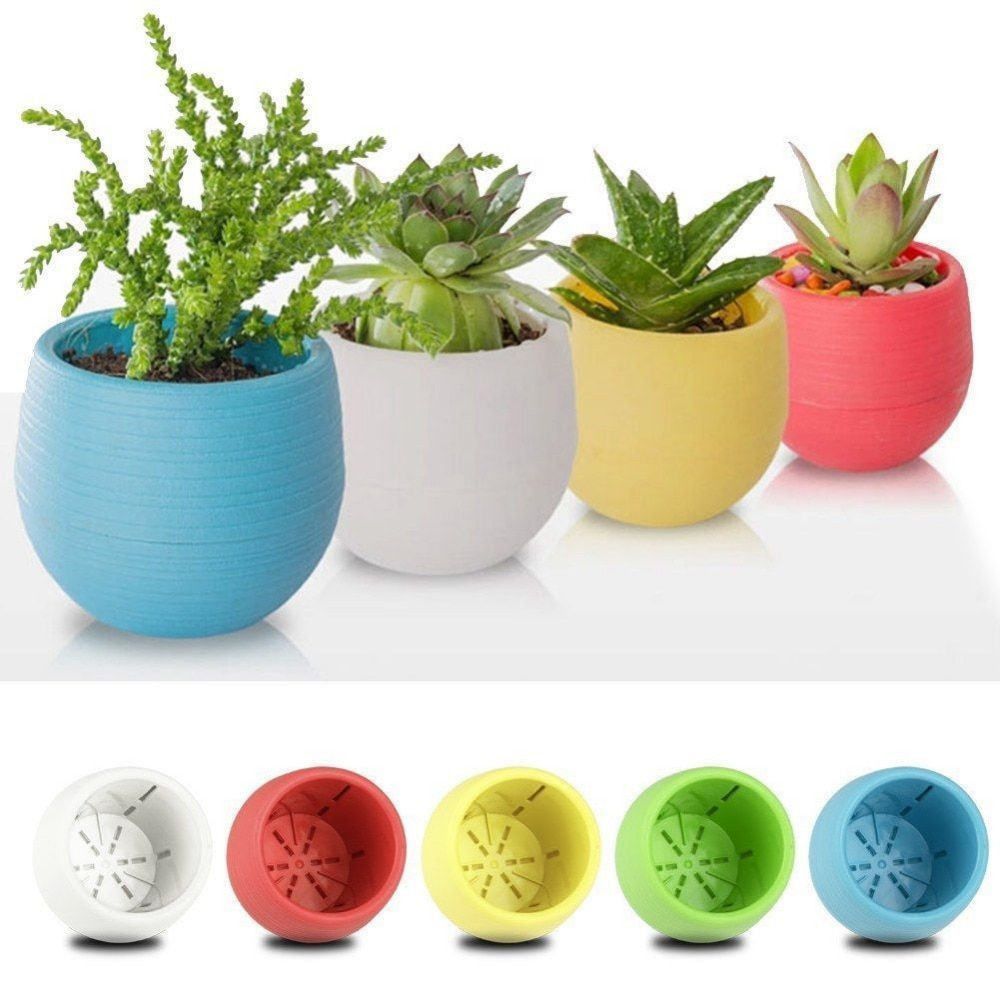 Colorful Nursery Pot Round Plastic Flower Pot Time Live Planter For Home Office Desk Decoration Garden Supplies Nursery Pots Plastic Flower Pots Flower Pots Flower Planters