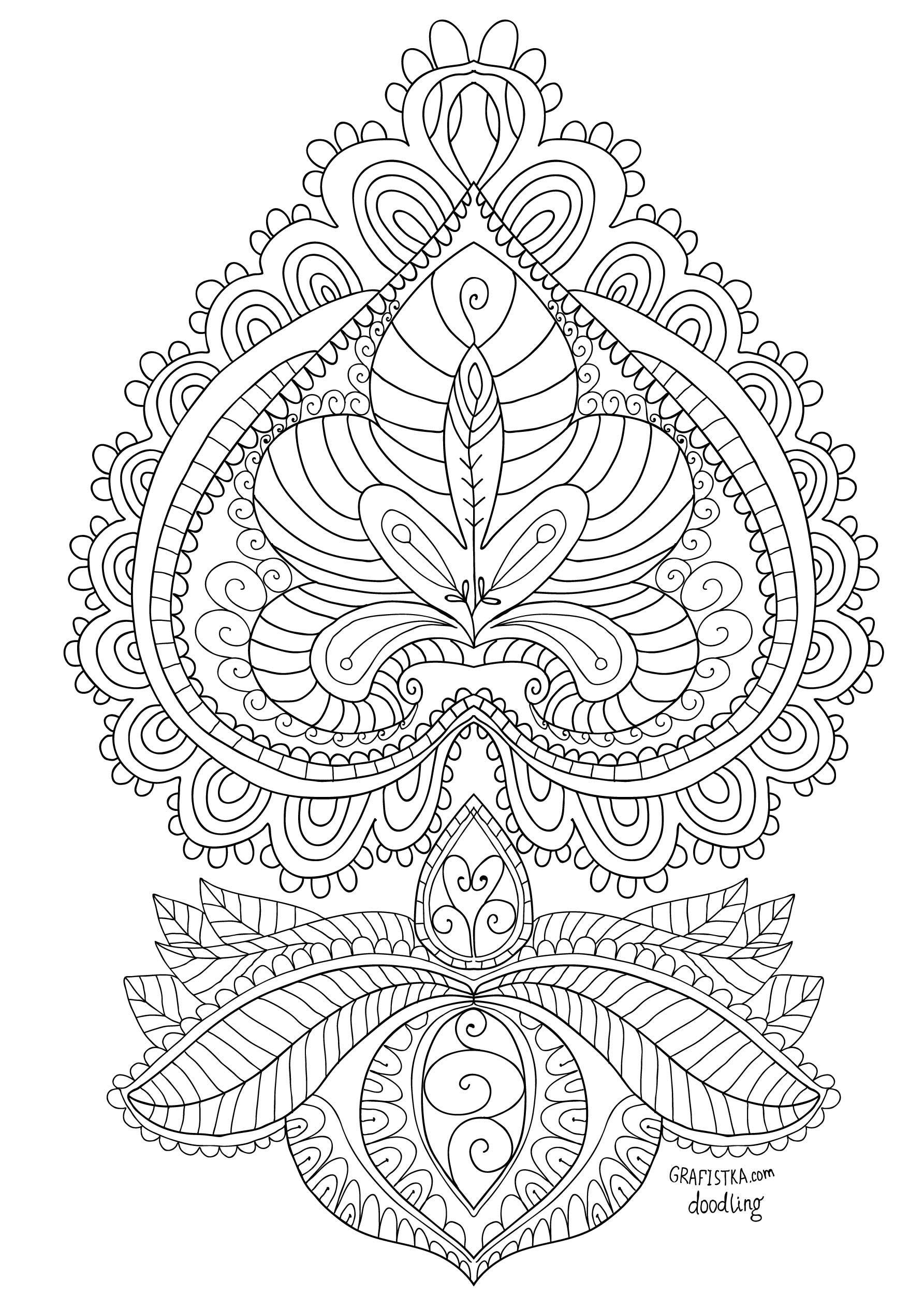 Раскраска для взрослых - индийский узор | Индийские узоры ...