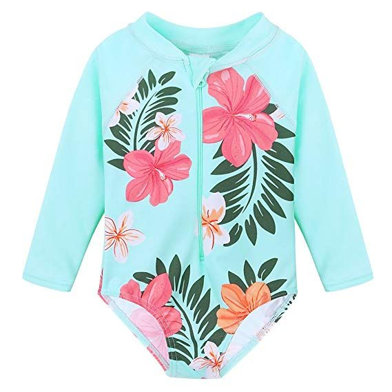 Huanqiue Baby Toddler Girl Swimsuit Rashguard Swimwear Long Sleeve