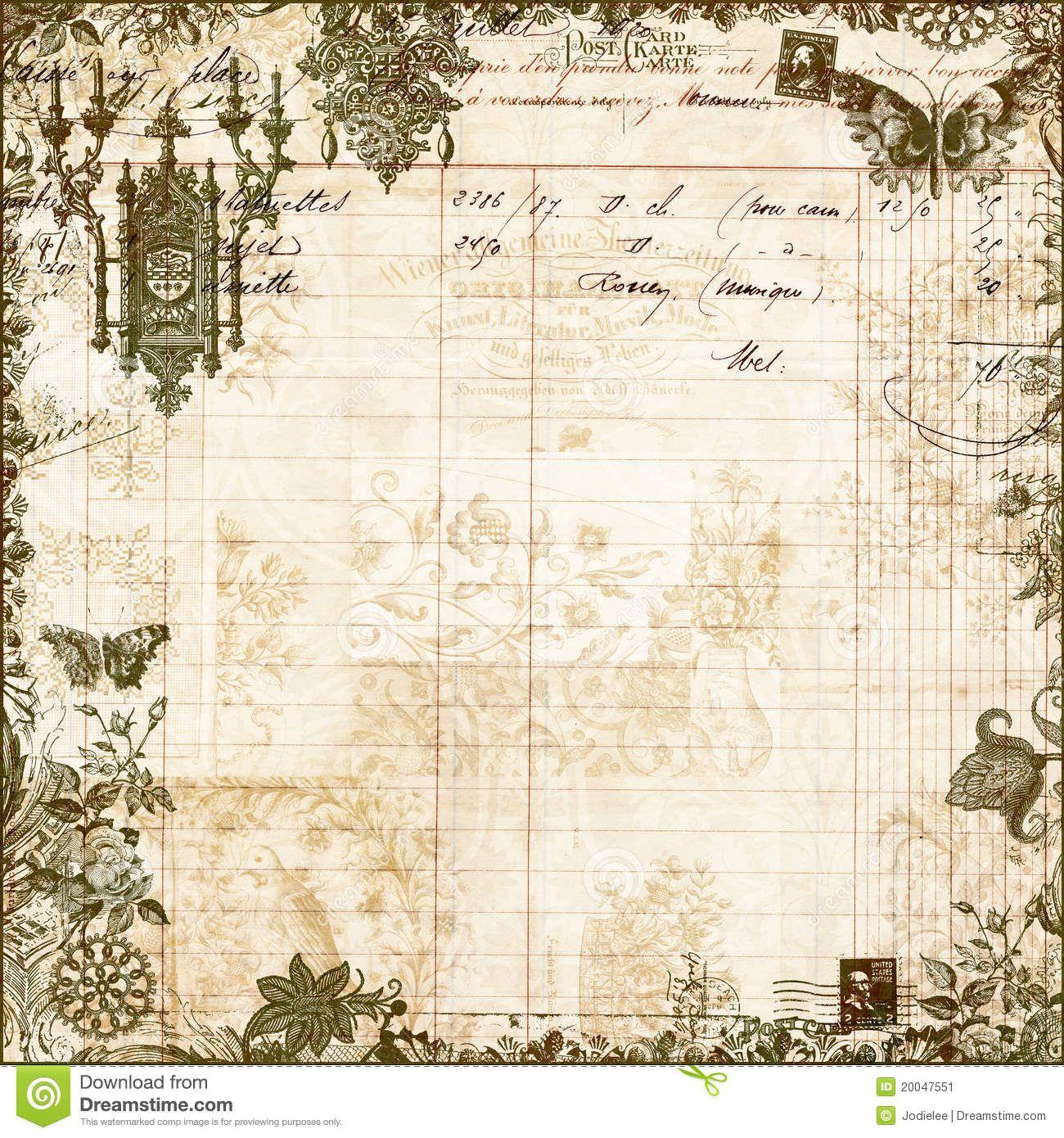 Antique Victorian Floral Scrapbook Background Download