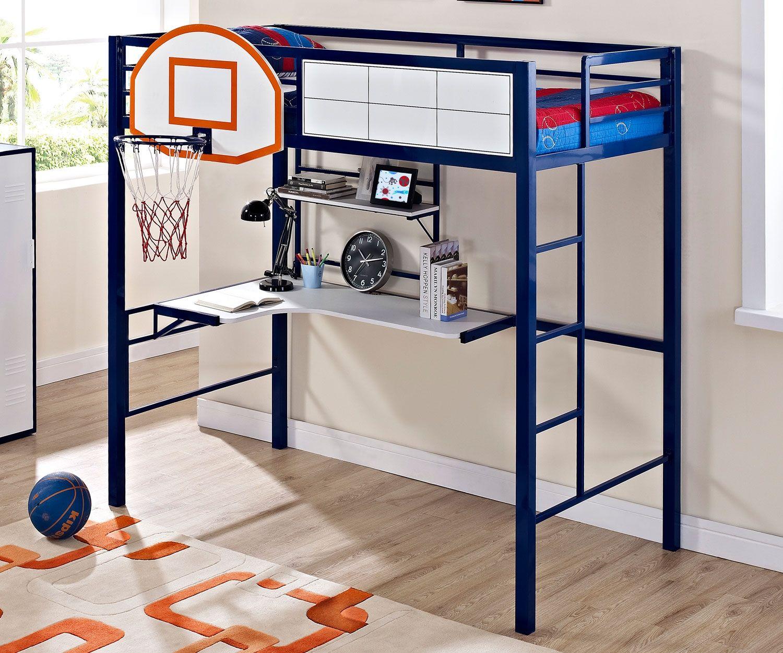 Twin Size Hoops Basketball Loft Bed 14Y2002BB Powell