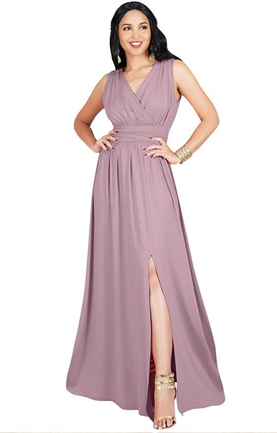 59ee87d2f05a2 KOH KOH Plus Size Womens Long Bridesmaid Wedding Guest Cocktail Party Sexy  Sleeveless Summer V-Neck Evening Slit Day Full Floor Length Gown Gowns Maxi  Dress ...