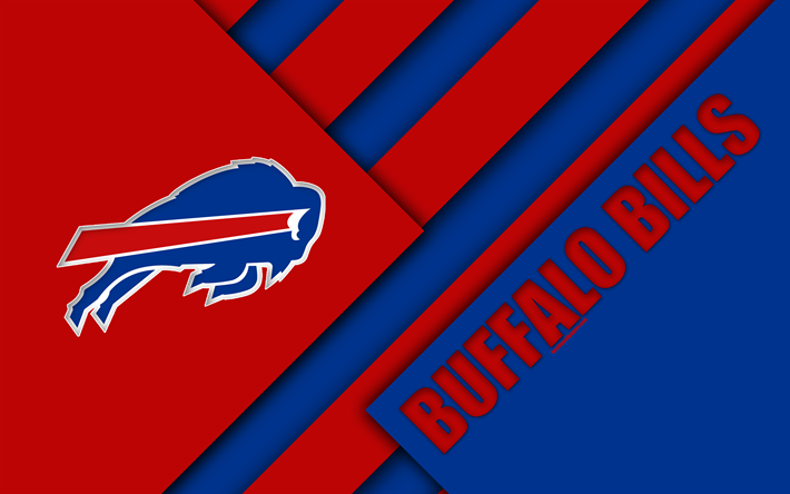 Download Wallpapers Buffalo Bills 4k Logo Nfl American Football Blue Red Abstraction Material Design Buffalo New York Usa National Football League Bes American Football Buffalo Bills Buffalo Bills Football