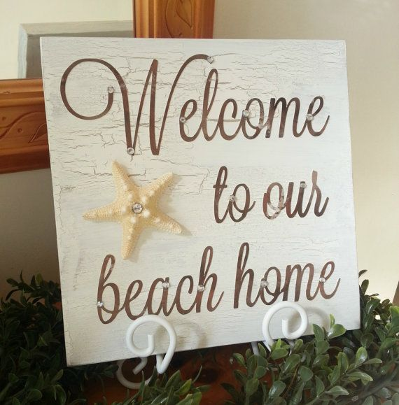 Beach House Wooden Welcome Sign with Starfish. by MadebyMonicaJ ...