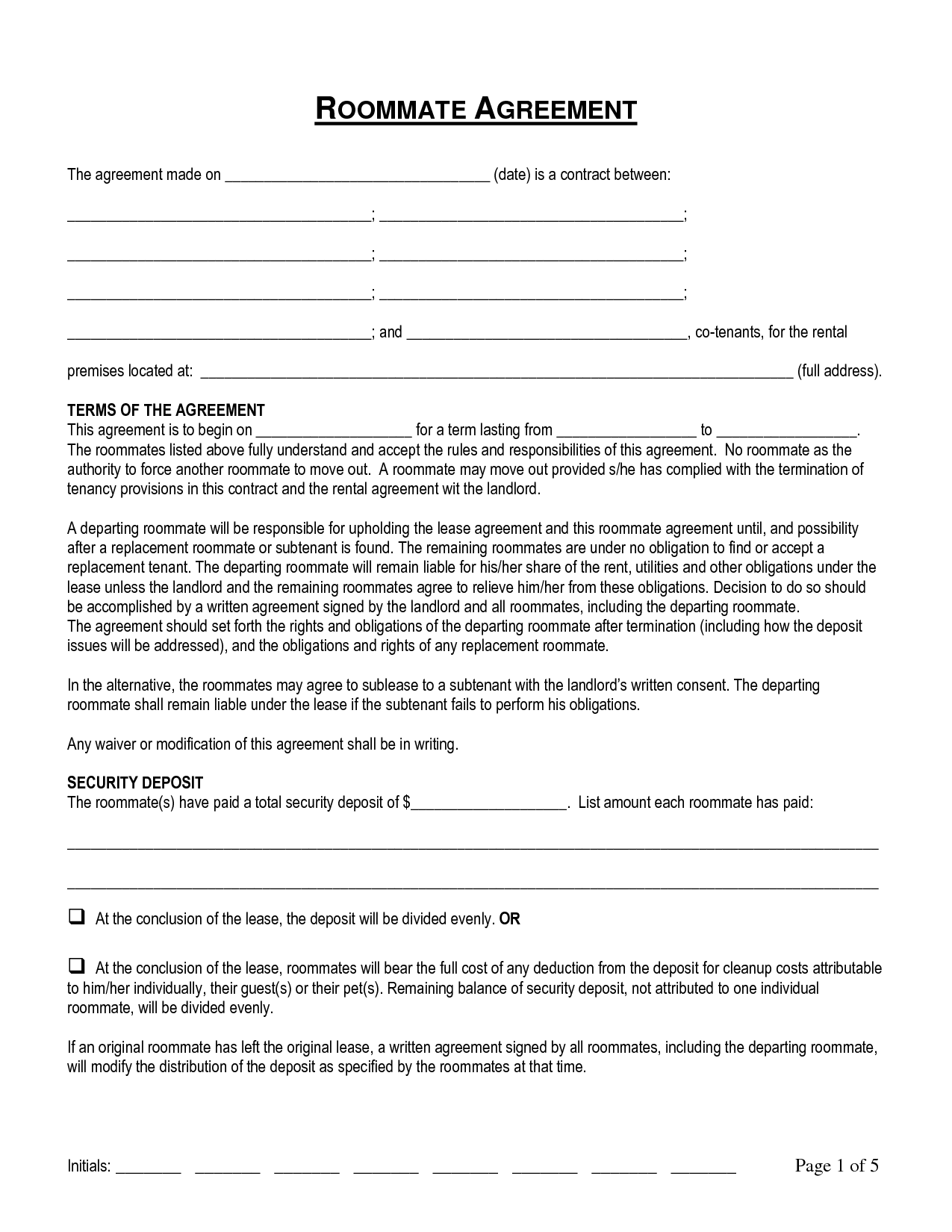 Termination Of Roommate Agreement By Pqo69567   Roommate Contract Agreement  Form