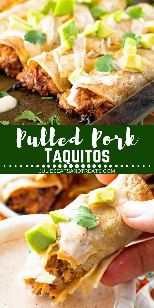 Make these quick and easy Pulled Pork Taquitos for dinner tonight! They are perf...  - Dinner -