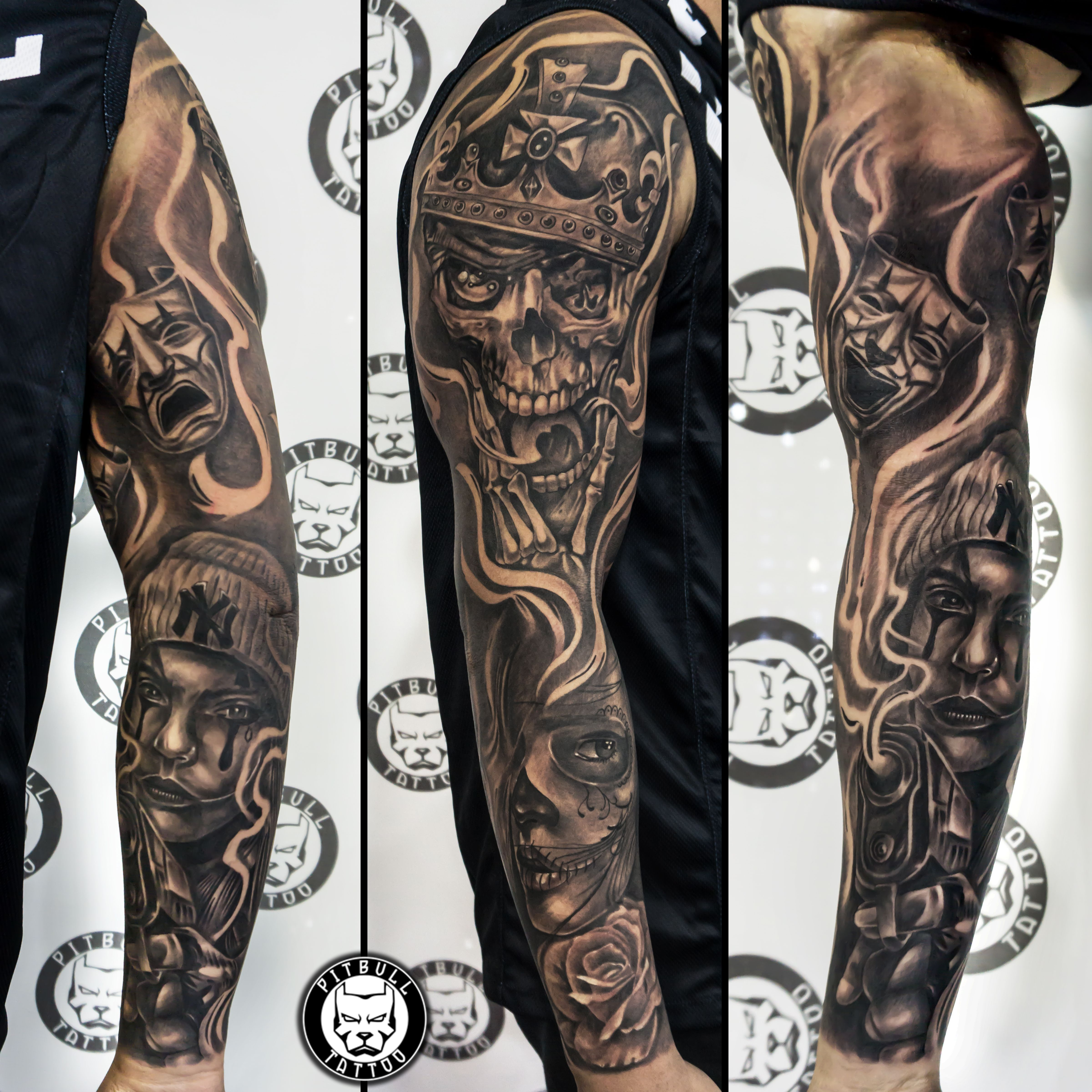 Chicano Full Sleeve Tattoo Arm Sleeve Tattoos Sleeve Tattoos Black And Grey Tattoos