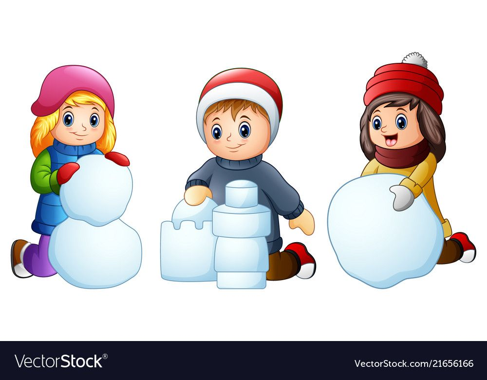 Cartoon kids playing with snow isolated on a white vector ...