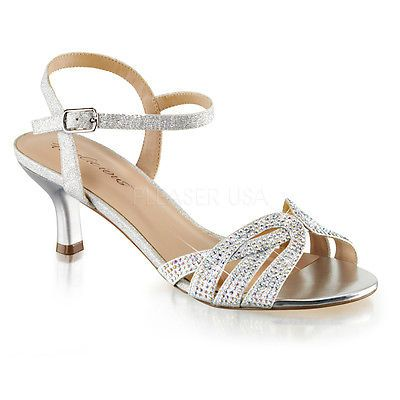b63c6abad39e85 Silver Rhinestone Low Kitten Heels Junior Bridesmaid Vintage Bridal Shoes 7  8 9