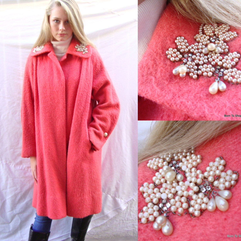 vintage 1950s wool swing coat, coral, wool boucle', pearl trim, mid century, swing coat, vintage coat, rockabilly, size medium by BornToShopVintage on Etsy