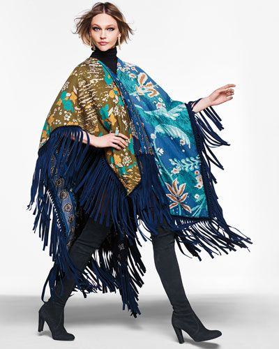 Just FAB!!  Burberry's Patchwork Blanket Fringe Poncho from @neimanmarcus.  #dinamackneyfave #folklorica #blue