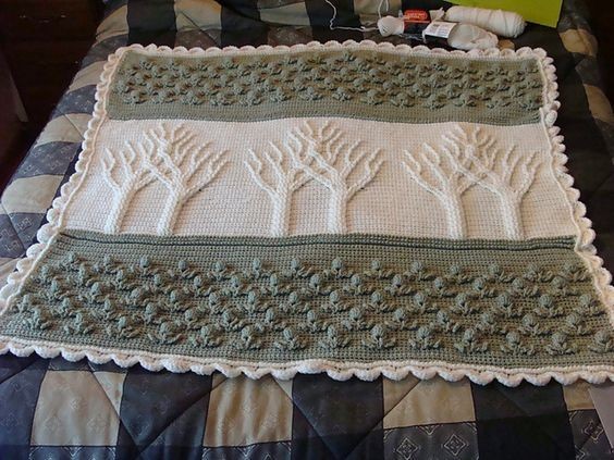 Crochet Ravelry Tree Of Life Afghan Wedding Gift