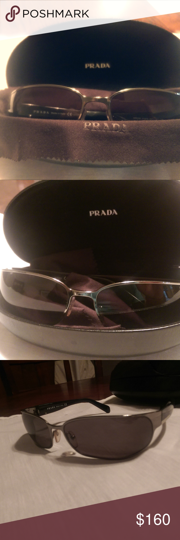 834923aad596f Prada Men s Sunglasses Model SPR53F Black Silver Like new Prada sunglasses  everything included in pictures with original container and cloth.