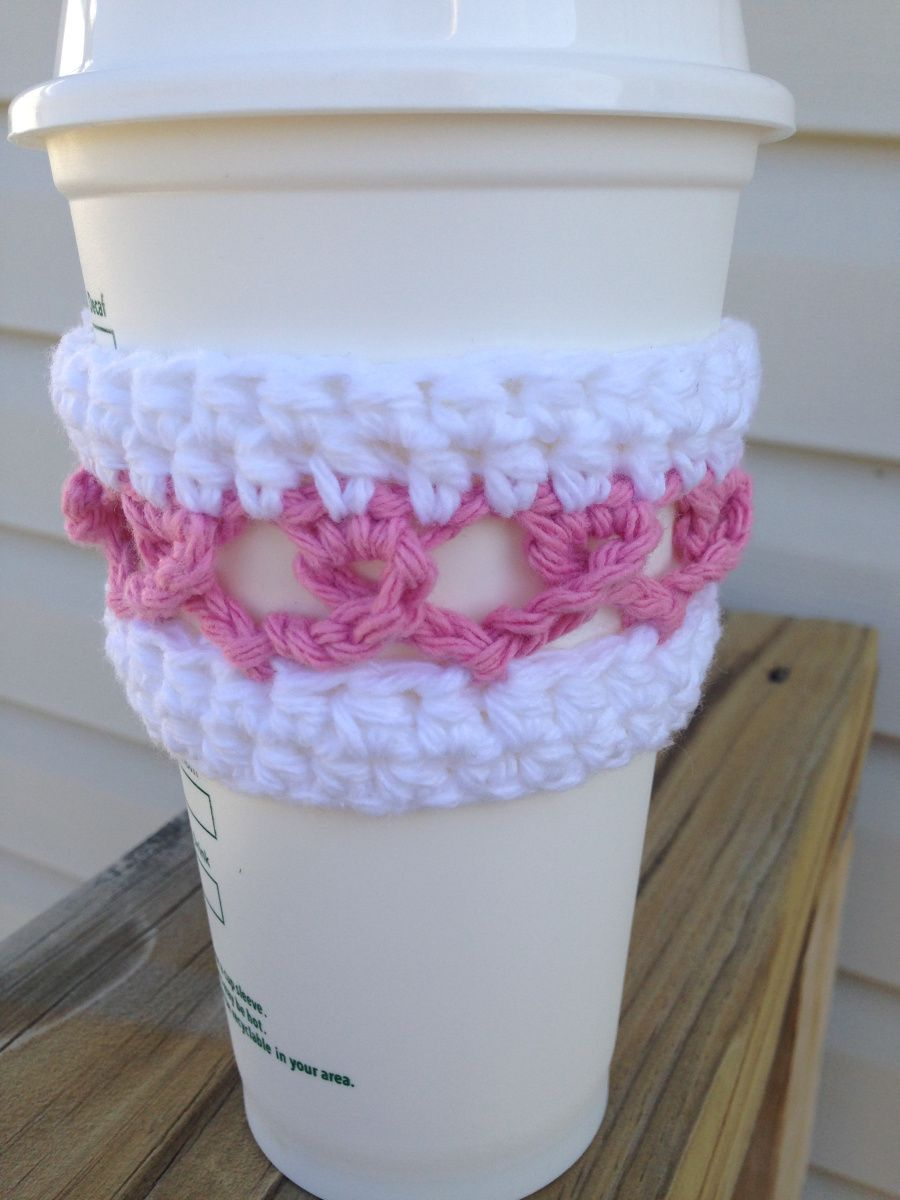 Crochet Breast Cancer Ribbon Cup Cozy | Tejido