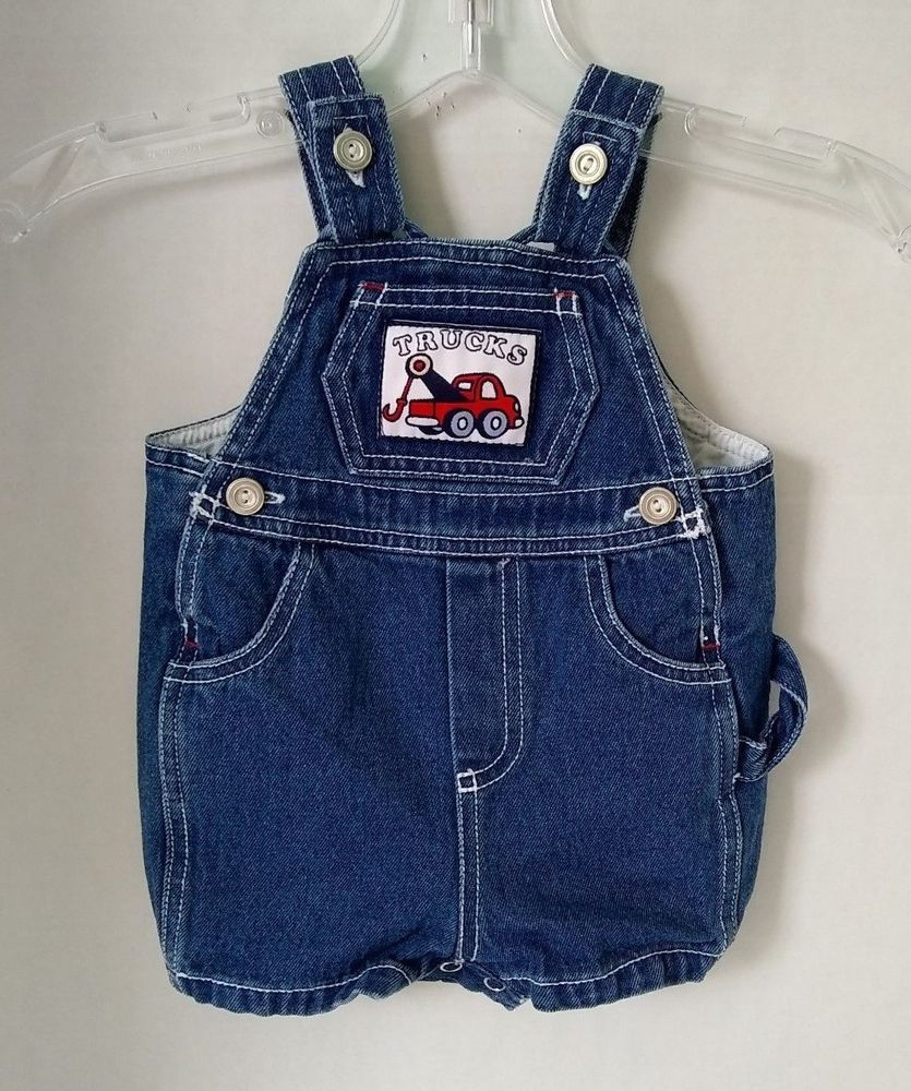 8d8360f8 Vtg Baby Togs Denim Bib Overalls Blue Romper Carpenter 3-6 MO Trucks Boy  #Babytogs #Everyday