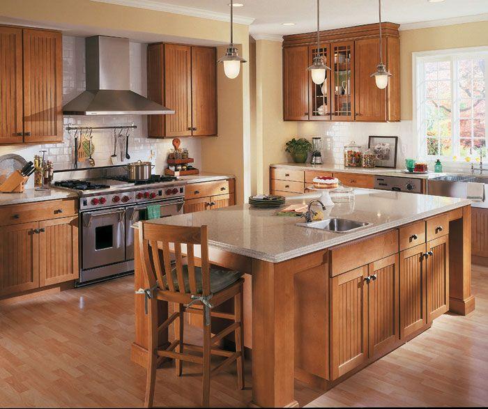 Stained Pine Kitchen Cabinets: Homecrest Maple Bayport, Toffee Stain In 2019