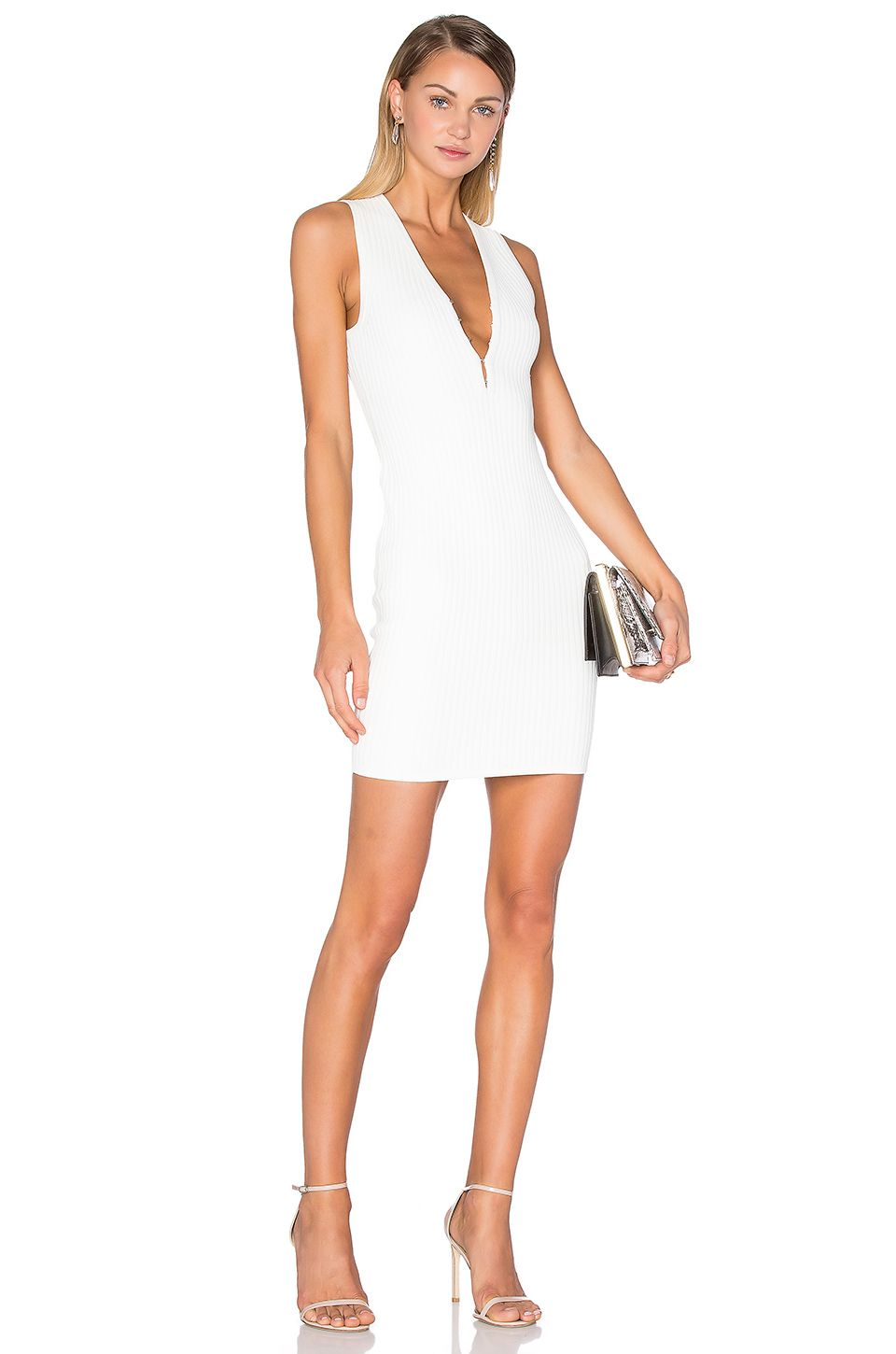 e1e43d24a7af T by Alexander Wang Hook   Eye Tank Dress in Ivory