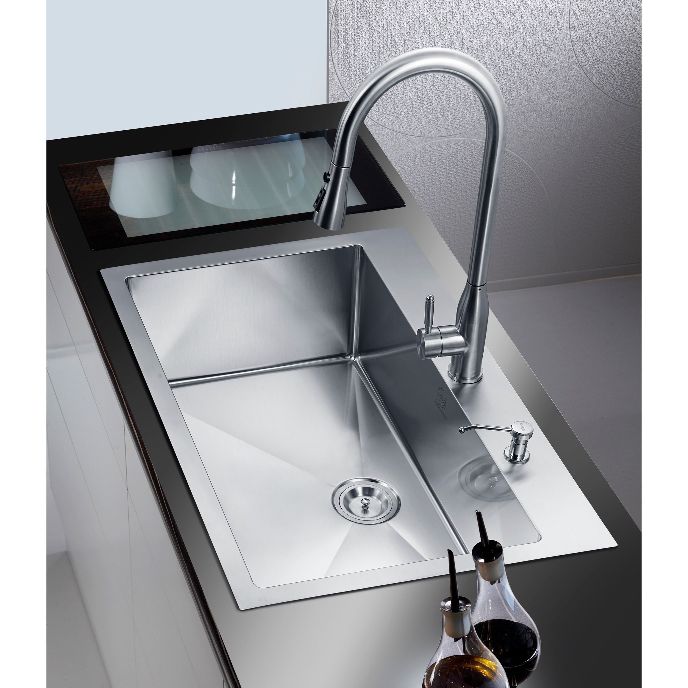 Overstock Farmhouse Sink Stufurhome Nationalware Overmount Stainless Steel 33 In 2