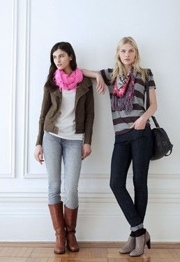 both looks (pink, boots, stripes)