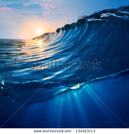 Ocaen View Seascape Landscape Big Surfing Ocean Wave With Beautiful Sunset By Willyam Bradberry Via Shutterstock Ocean Waves Surfing Ocean View