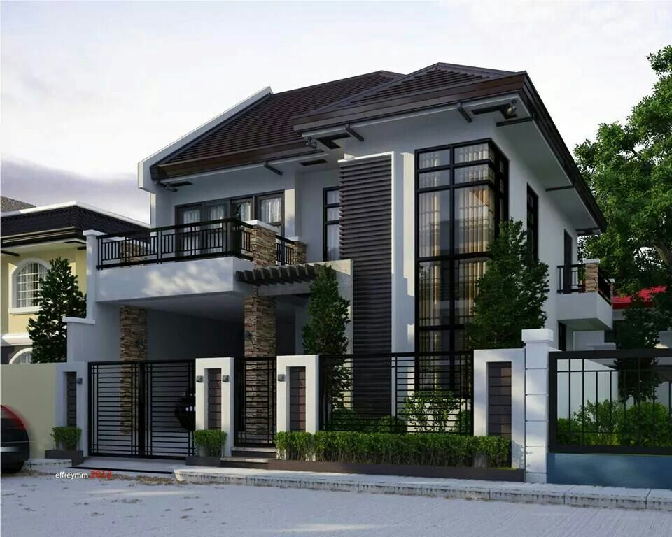 Two storey modern house brighter color perhaps dom for Modern two story house