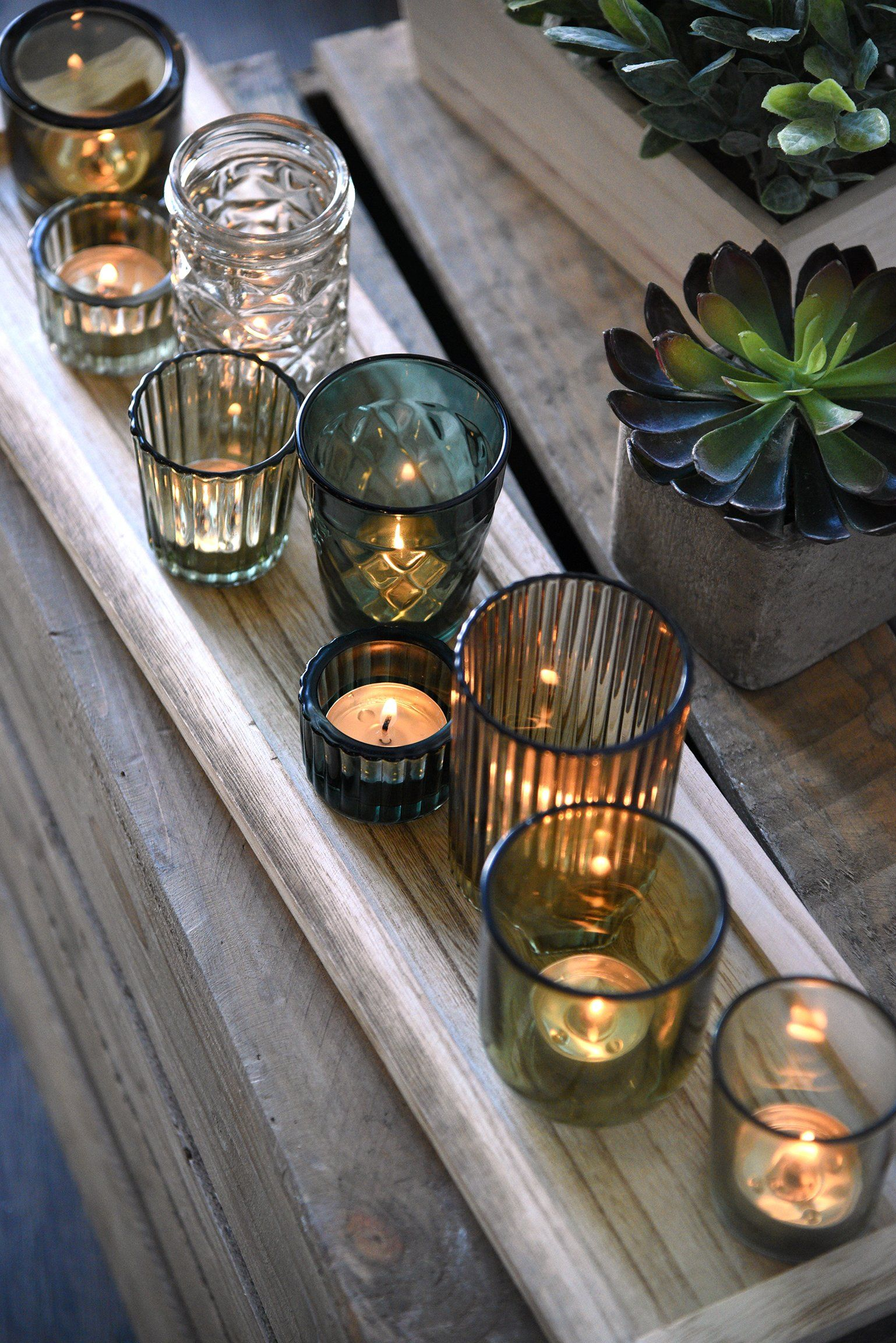 Green Glass Tealight Candle Holders With Wood Tray In 2021 Glass Tealight Candle Holders Tealight Candle Holders Tea Light Candles Glass tea light candle holder