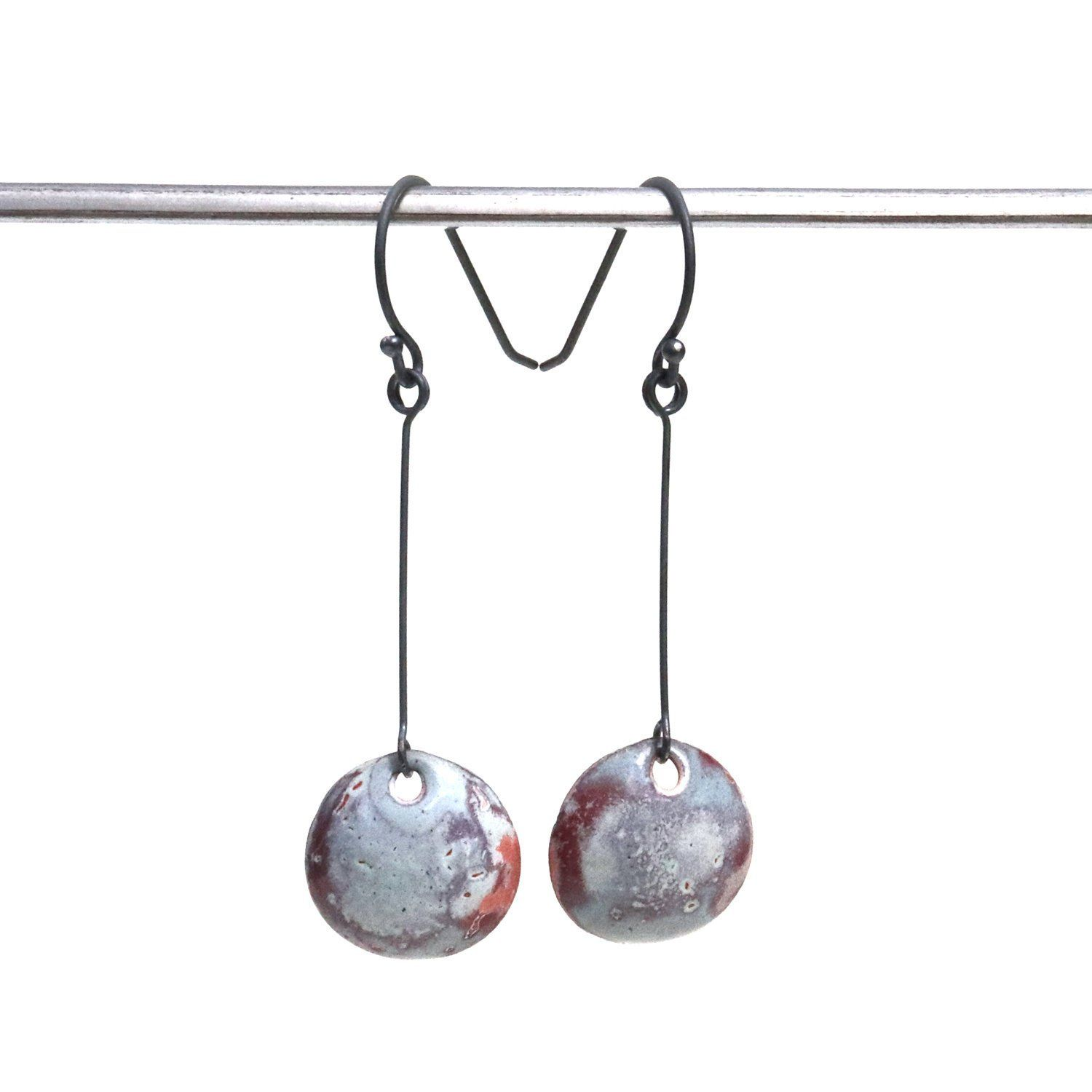Torch Fired Enamel Earrings Copper Enamel Round Earrings