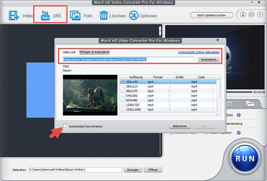 Facebook Video Converter für Windows 10 und macOS