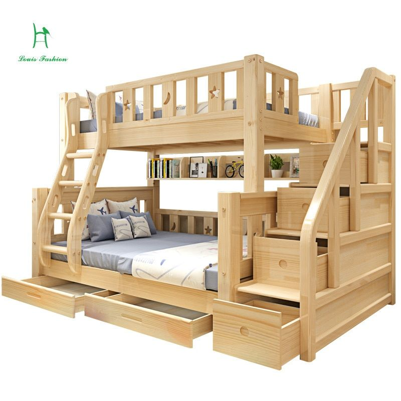 Louis Fashion Children Bunk Bed Real Pine Wood With Ladder Stair Drawers Safe And Strong Aliexpress Mobile In 2020 Kids Loft Beds Bunk Beds Wooden Bunk Beds