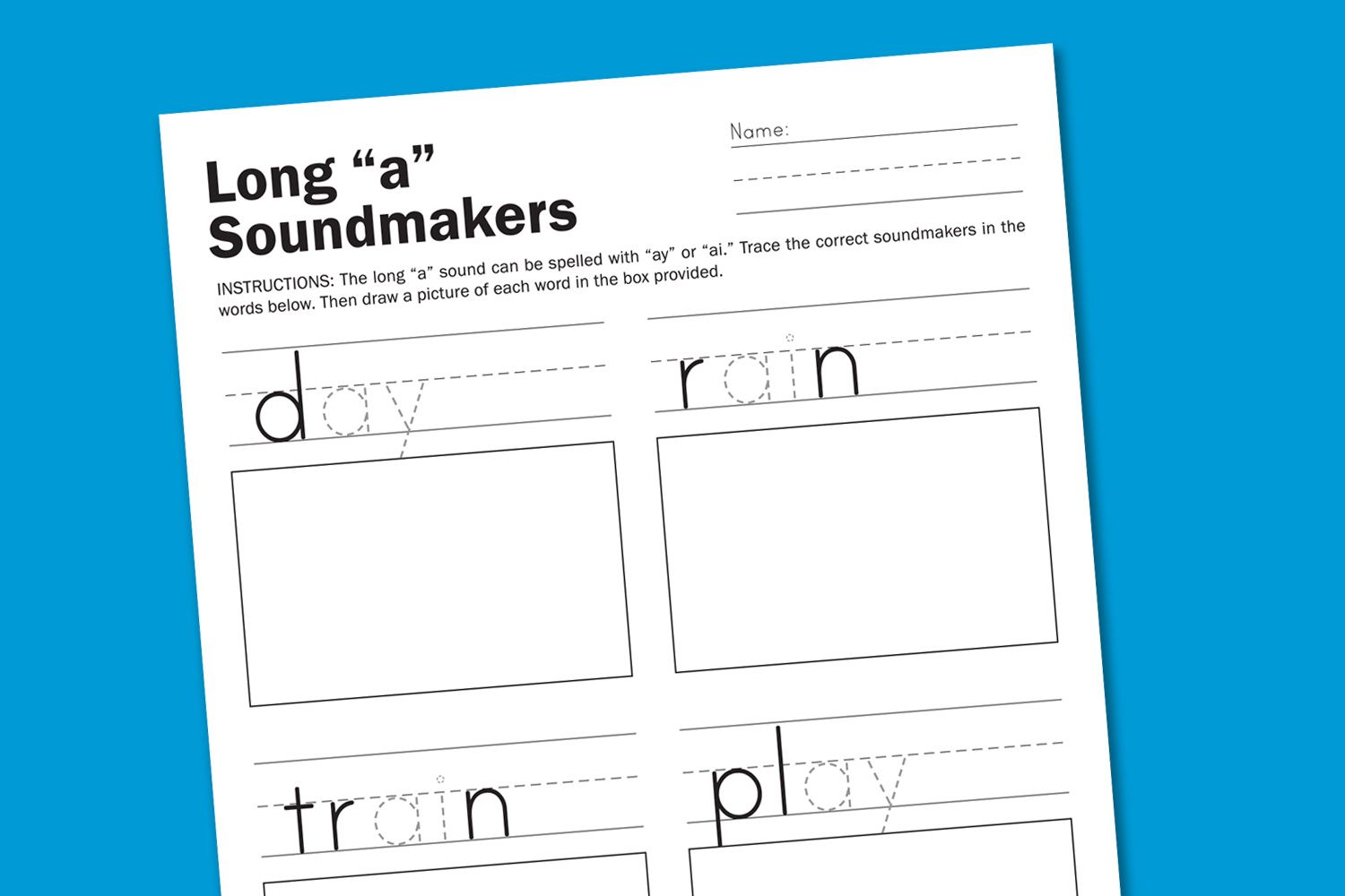 Long A Sounds Phonics Worksheet For Kindergarten Phonics