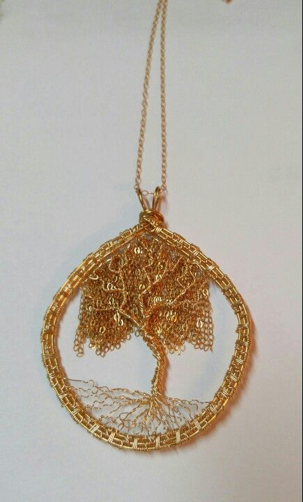 Gold filled willow tree with wire weave frame.  Pat Kolar Jewelry on facebook