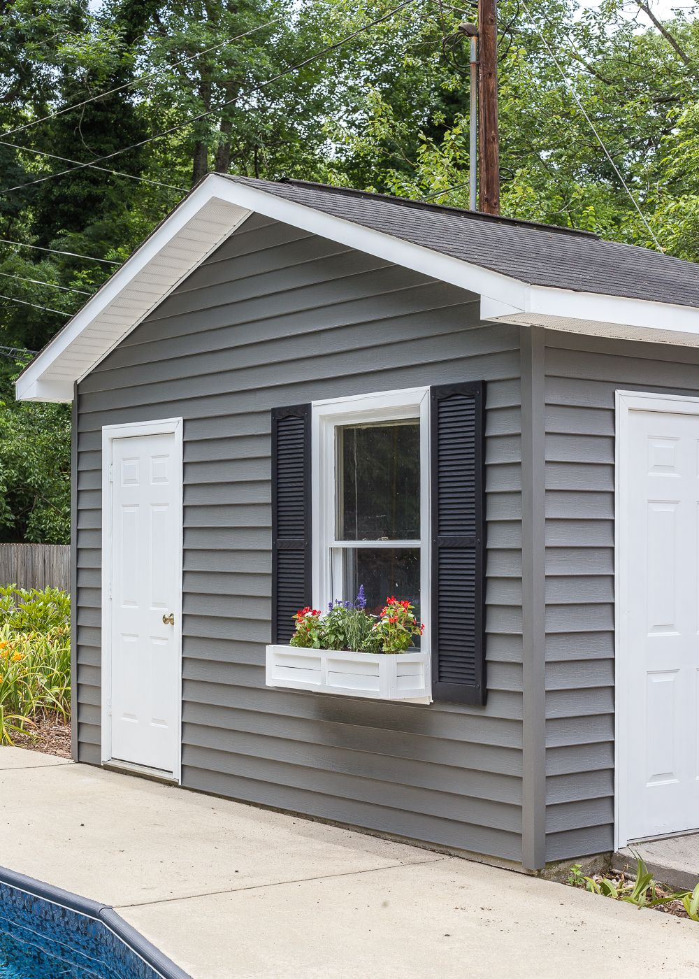 How To Paint Vinyl Siding Pool Shed Makeover Pool Shed Shed Makeover Vinyl Siding