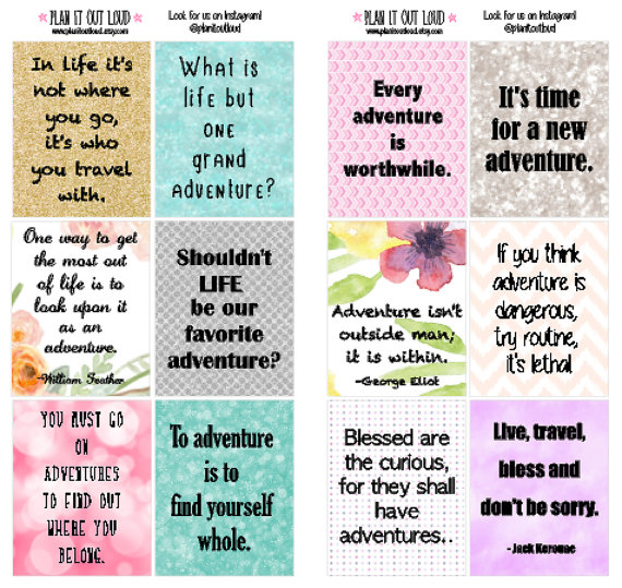 These adventure quote full box stickers fit the Erin Condren planner perfectly!  You will get: 12 Full Box stickers (1.9x1.5in)    These stickers