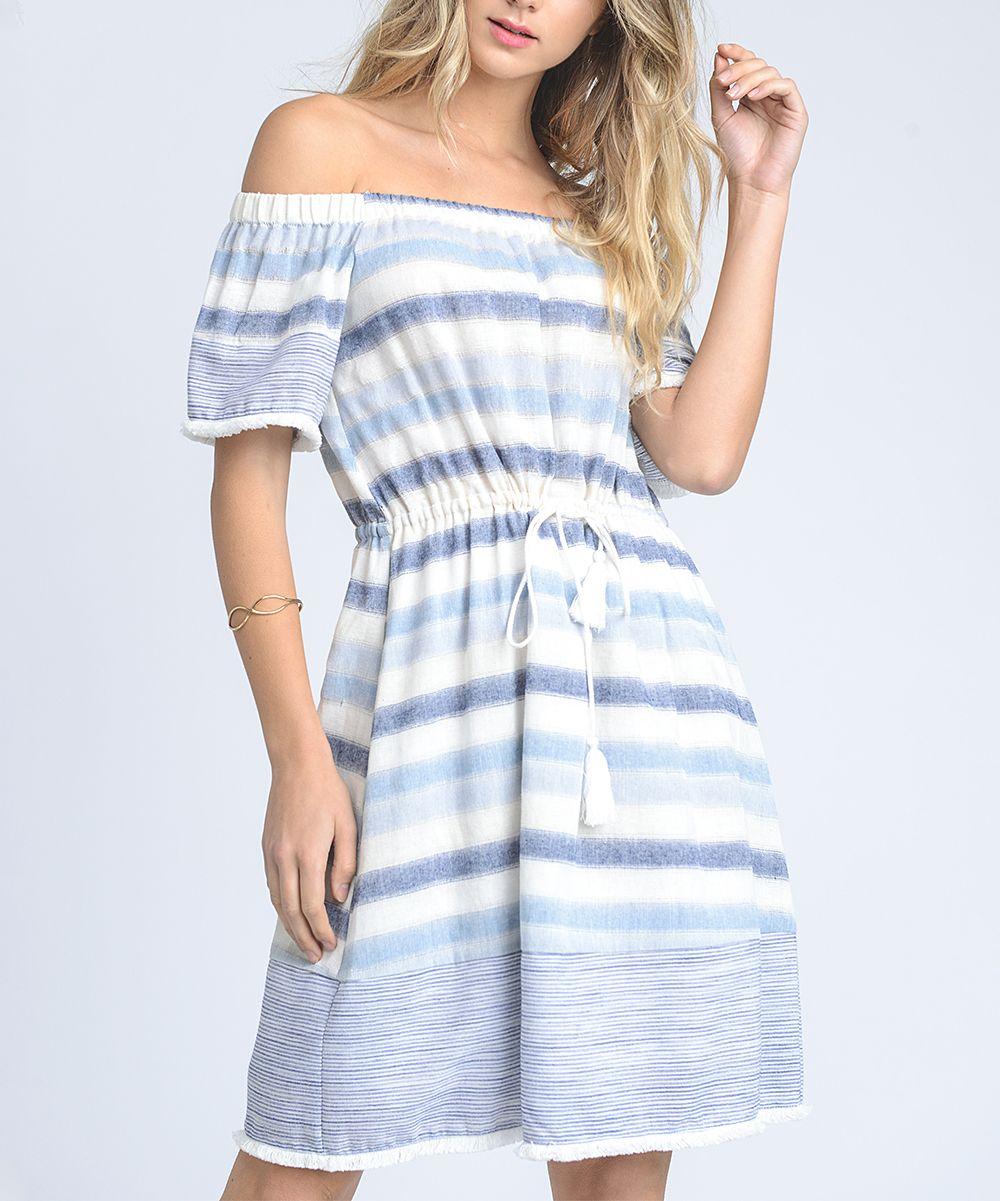 37c8cdff8c Doe & Rae Blue Stripe Tie-Front Off-Shoulder Dress - Women | zulily ...