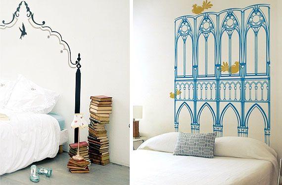 cabeceros pintados en la pared 2 cabeceros pintados y adhesivos arte en la pared - Cabeceros Pintados