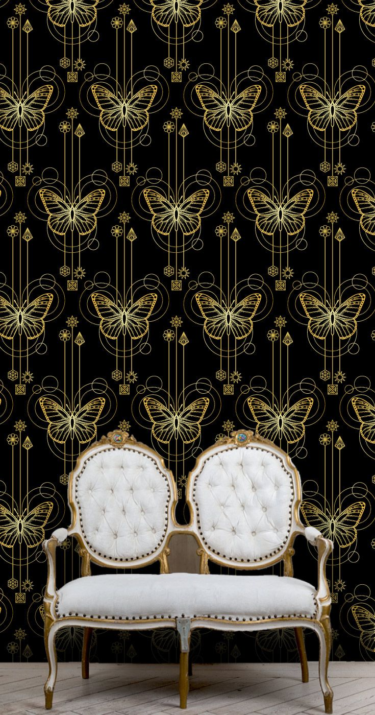 Luxury Metallic Black And Gold Butterflies Bedroom Wallpaper Pattern.