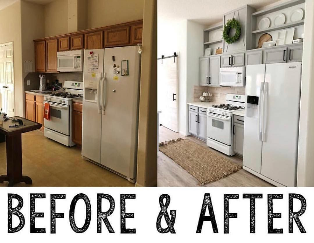 One Of Our Very Favorite Updates Builder Grade Cabinets To Custom In A Couple Of Hours For Under 200 Get Th Builder Grade Kitchen Builder Grade Chic Kitchen