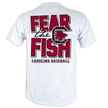 on sale 62d86 8584d South Carolina Gamecock Fear The Fish Baseball T-Shirt ...