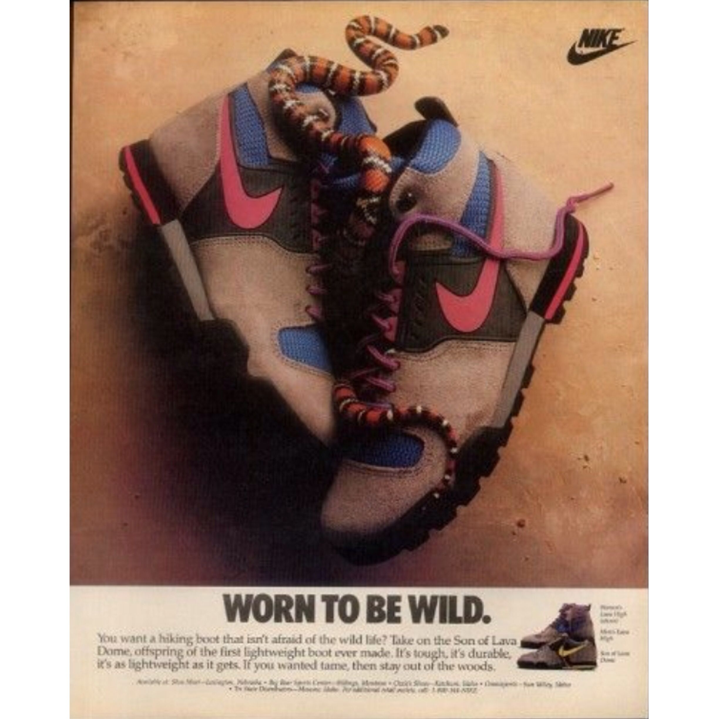 1988 red & black snake photo Nike Lava hiking shoes Son of Lava Dome print  ad