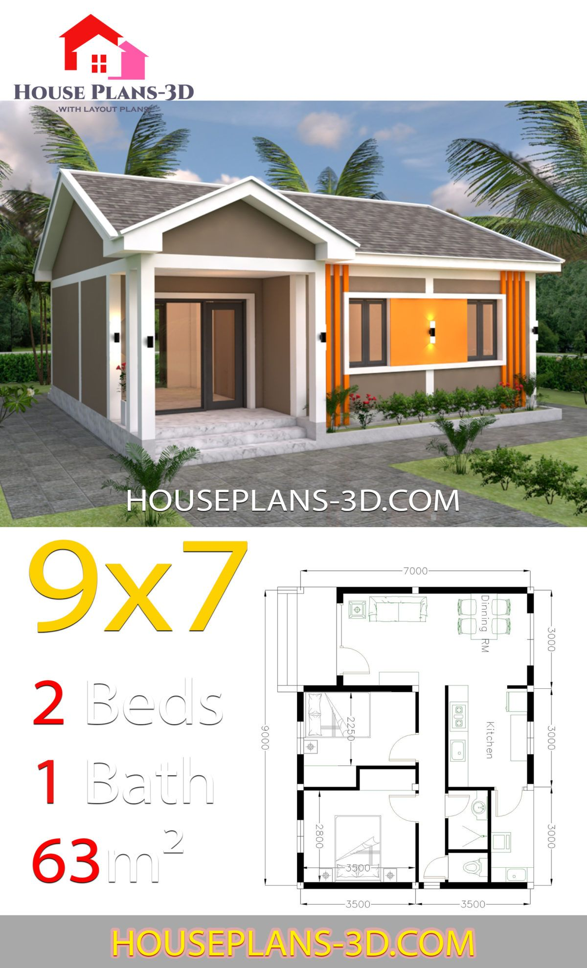 House Plans 9x7 With 2 Bedrooms Gable Roof House Plans 3d House Construction Plan House Plan Gallery House Plans