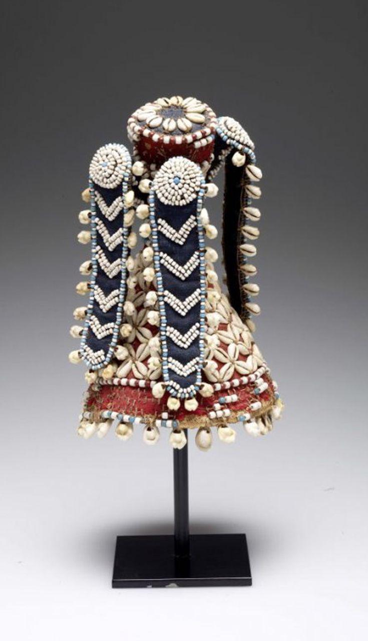 Africa   Titleholder's headgear ~ kalyeem ~ from the Kuba people of Congo   Raffia, wool, cotton, glass beads, cowrie shells   Early 20th century