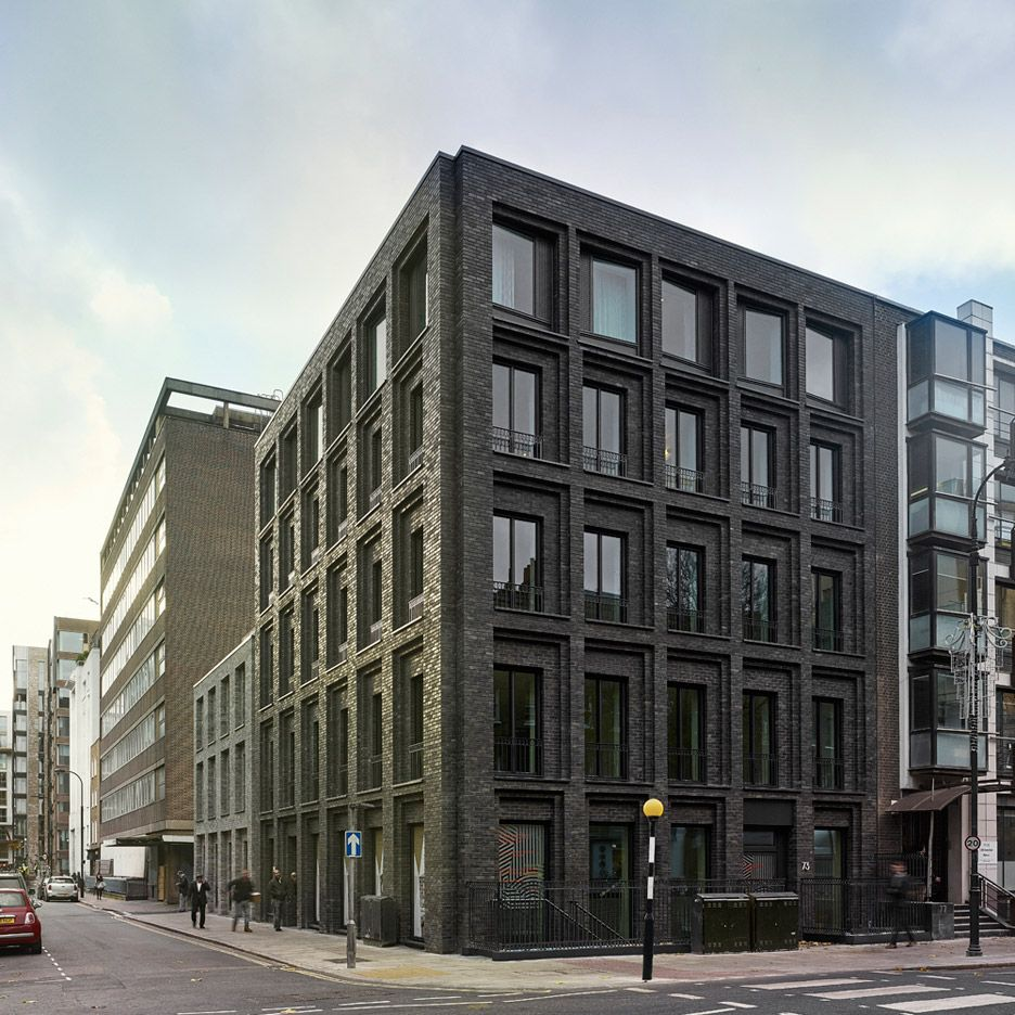 modern brick apartment building. Photograph by Christopher Rudquist Corner House DSDHA residential  mixed use brick architecture London