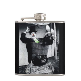 Vintage Black and White Clown Photographs Flask