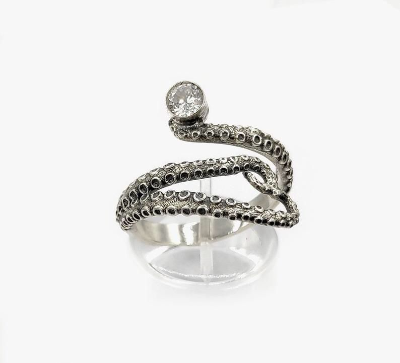 Silver band rings for women Italian jewelry Large band Ring with red Octopus