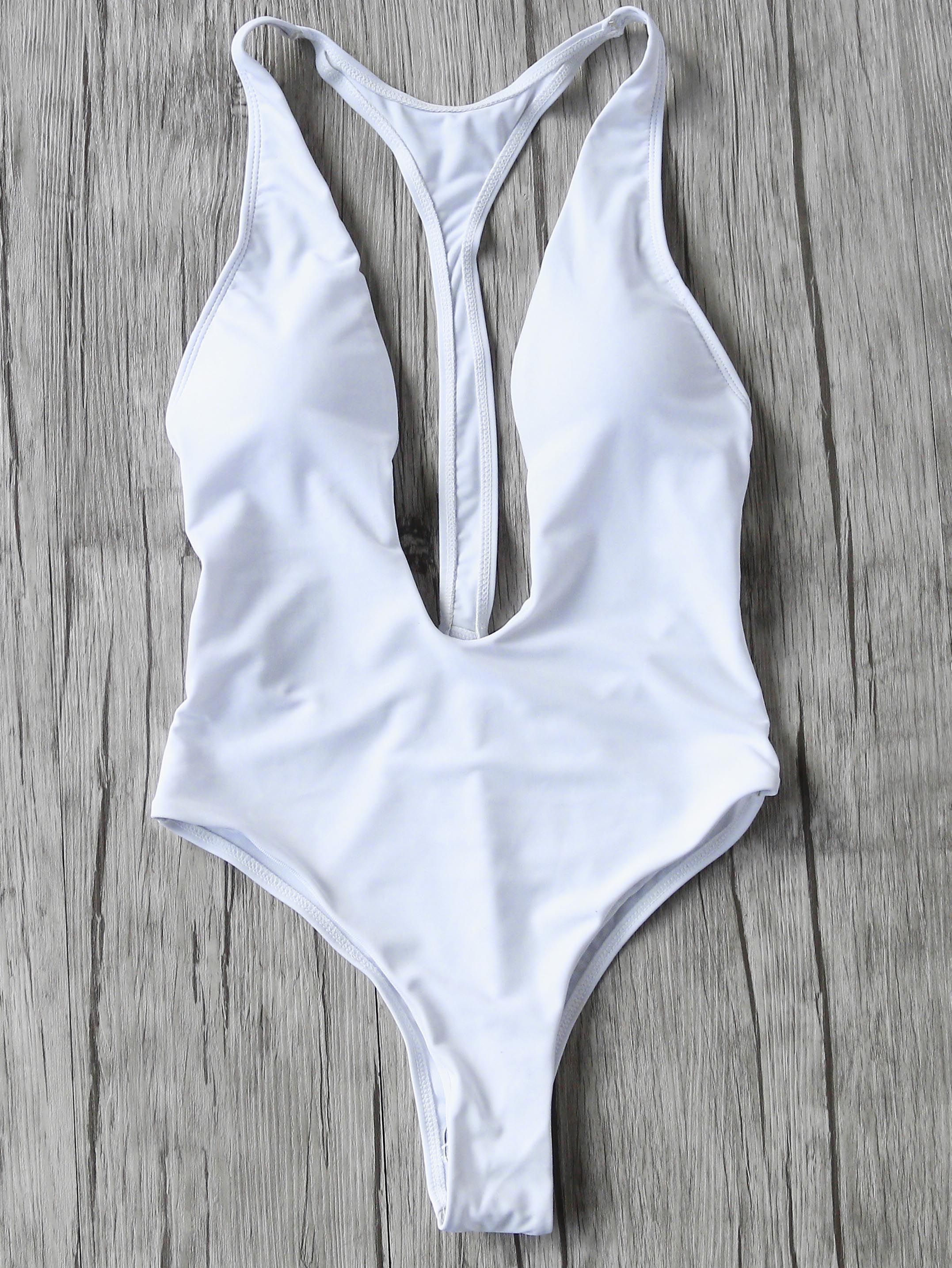 d9be00f786 Shop White Plunge Neck One-Piece Swimwear online. SheIn offers White Plunge  Neck One-Piece Swimwear & more to fit your fashionable needs.