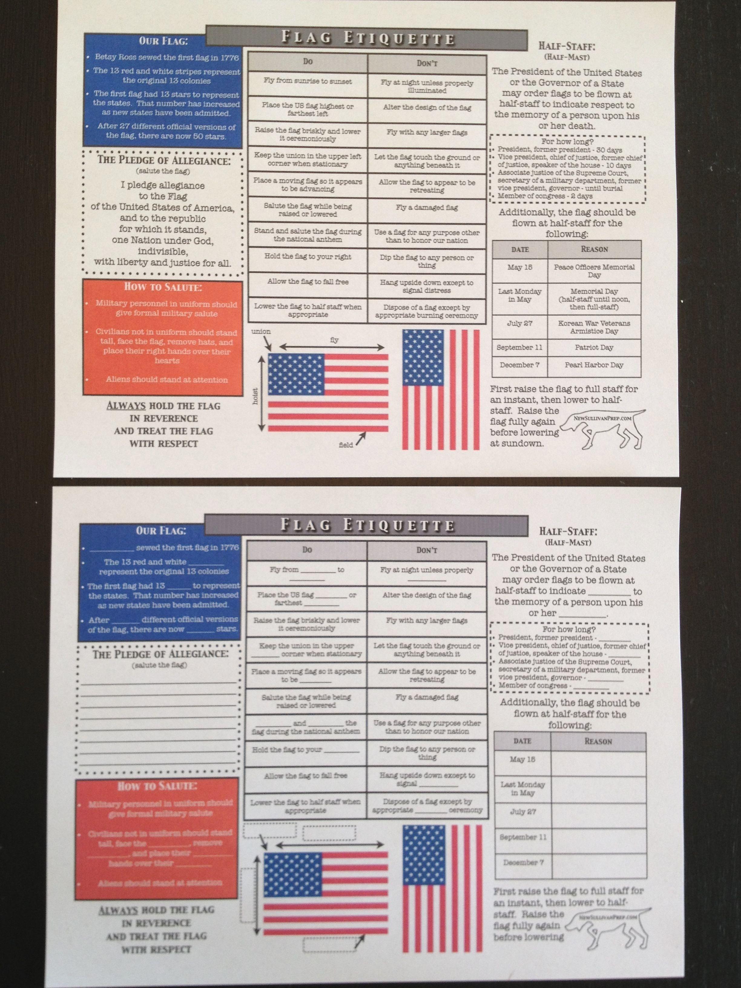 Boy Scout Flag Elegant American Flag Etiquette Worksheets