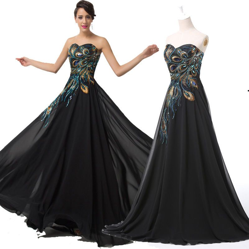 Details about 2015 Vintage Peacock Masquerade Long Gown Ball Party ...