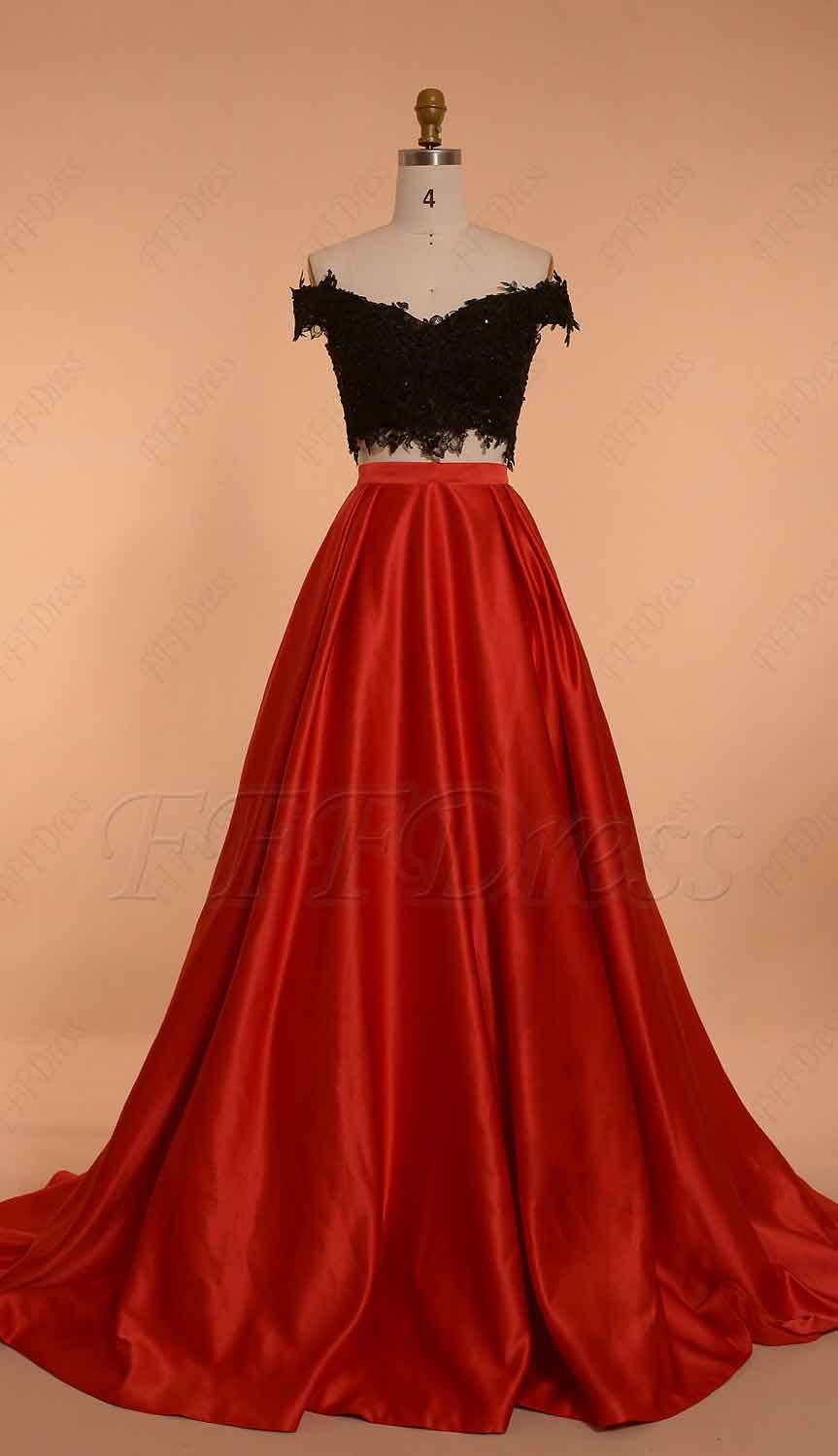 Off the shoulder two piece prom dress ball gown red black in